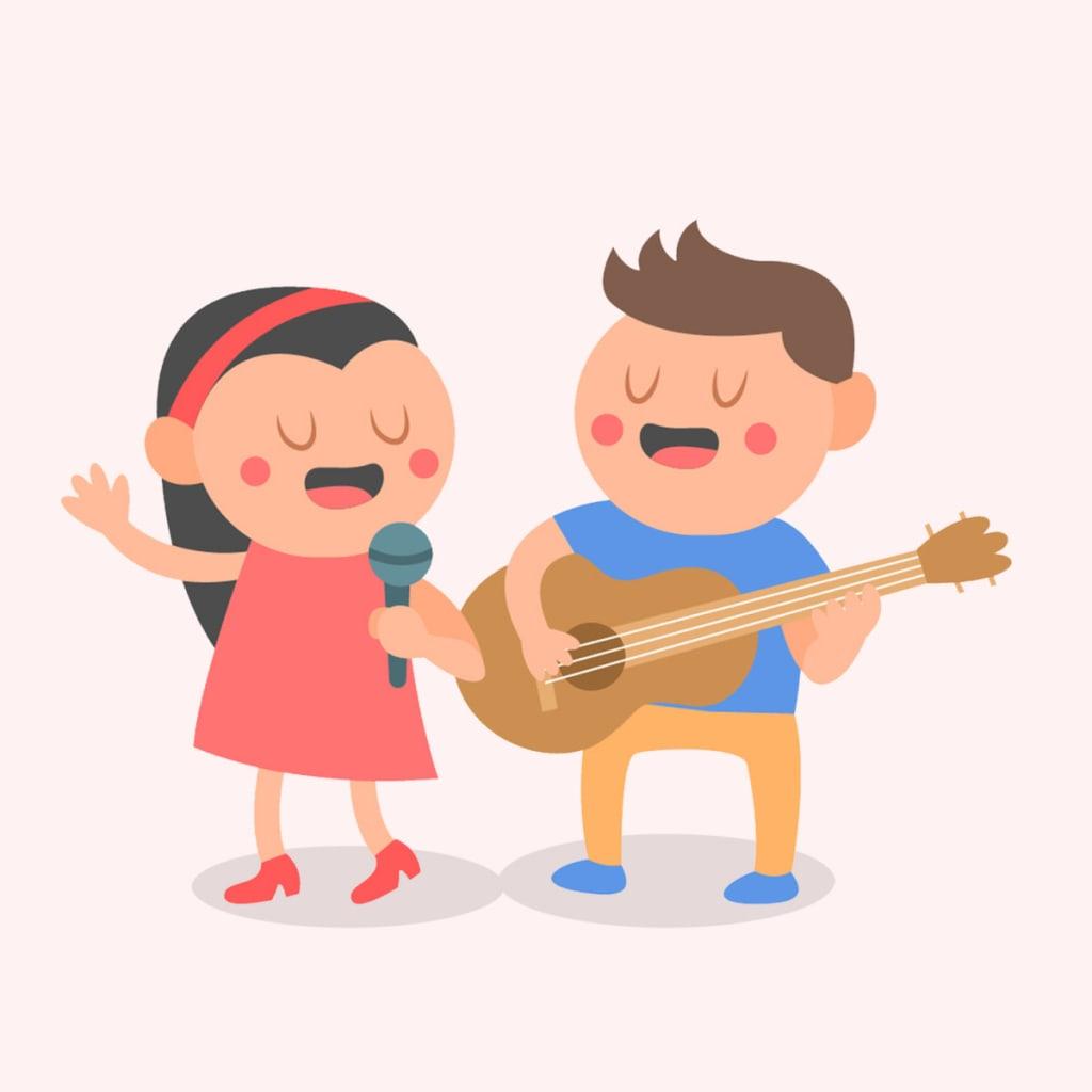 Gambar Kartun Anak Sedang Bernyanyi